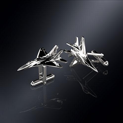 Серебряные запонки МИГ-29 (серебро 925 пробы)