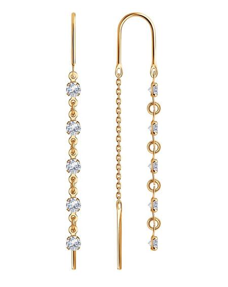 Серьги-протяжки золотые с фианитами 022813