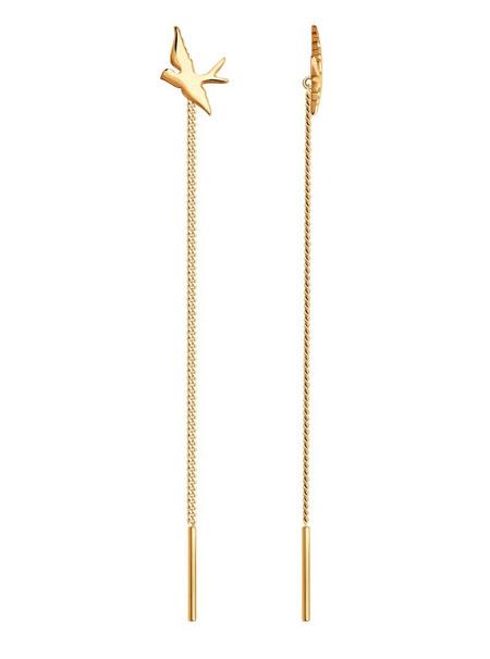 Серьги-цепочки из золота Птицы 027119