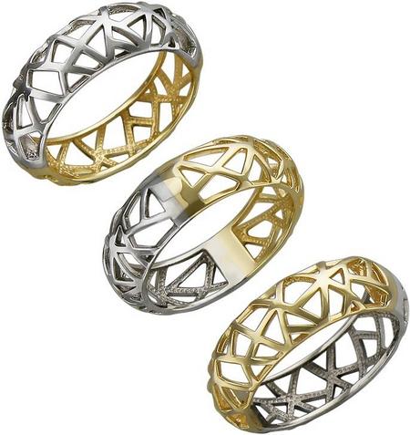 Ажурное кольцо из комбинированного золота 01К068411Ж