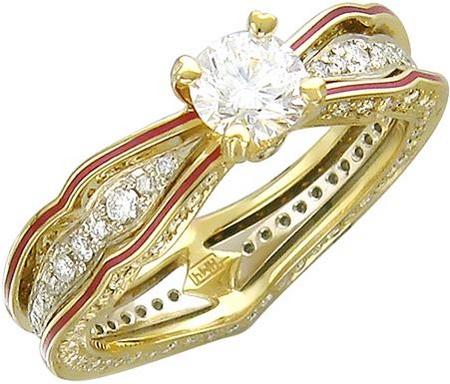 Эксклюзивное кольцо из золота с бриллиантами и эмалью 01К686260Э