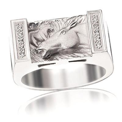 Мужские кольца и перстни-печатки Серебро 925 пробы МУСТАНГ К-350