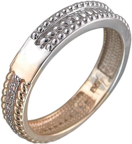 Кольцо дорожка из комбинированного золота с фианитами 01К168429