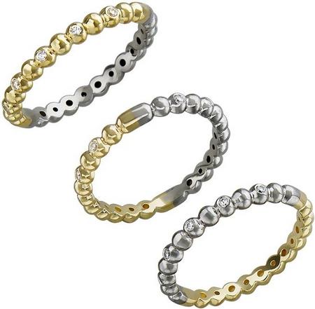 Кольцо дорожка из комбинированного золота с фианитами в виде шариков 01К168425Ж