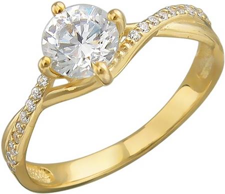 Кольцо из золота с фианитовыми дорожками 01К138527