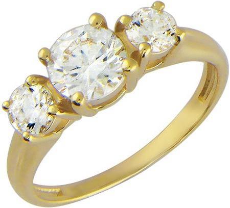 Кольцо из золота с тремя фианитами 01К134541