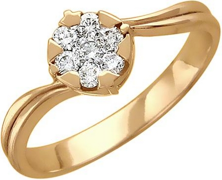 Кольцо малинка из золота с бриллиантами 01К616318
