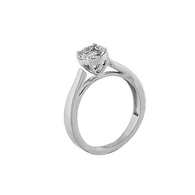 Кольцо помолвочное с 1 бриллиантом из  и белого золота