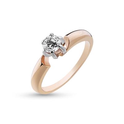 Кольцо помолвочное с 1 бриллиантом из красного и белого золота