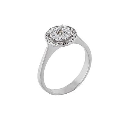 Кольцо помолвочное с бриллиантами из белого золота
