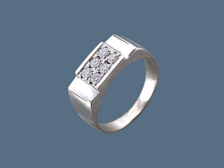 Перстень печатка из серебра с фианитами 060135