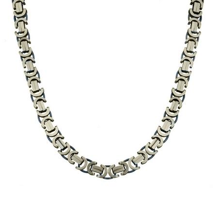 Мужская цепь из черненного серебра плетение «Бизантина сколоченная», ширина 0,8 см M0000053730