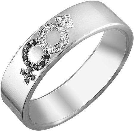 Обручальное кольцо из серебра с фианитами в виде гендерных символов, ширина 5,9 мм 01О250129