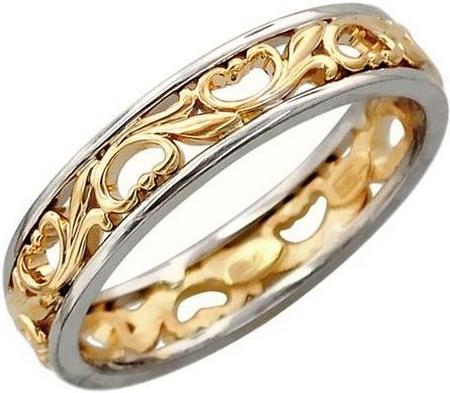 Обручальное кольцо из золота с цветочными узорами, ширина 6 мм 01О060240