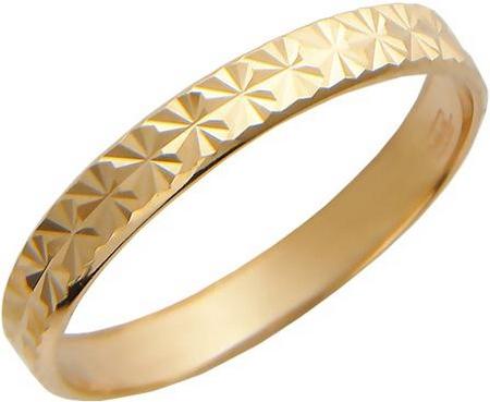 Обручальное тонкое кольцо из золота с алмазной огранкой, ширина 3 мм 01О710024