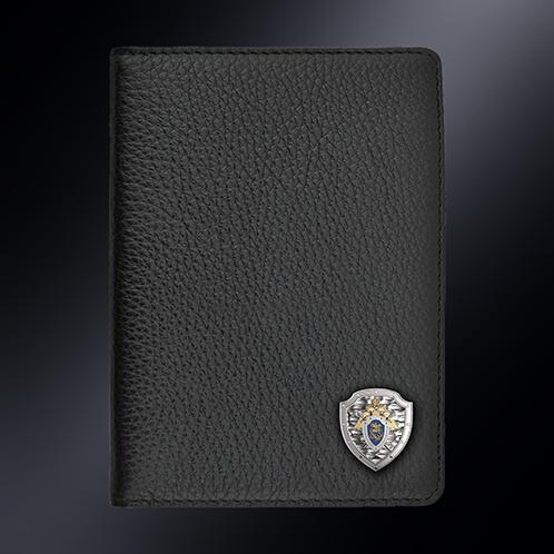Кожаная обложка для автодокументов СК РОССИИ (эмблема серебро 925 пробы)