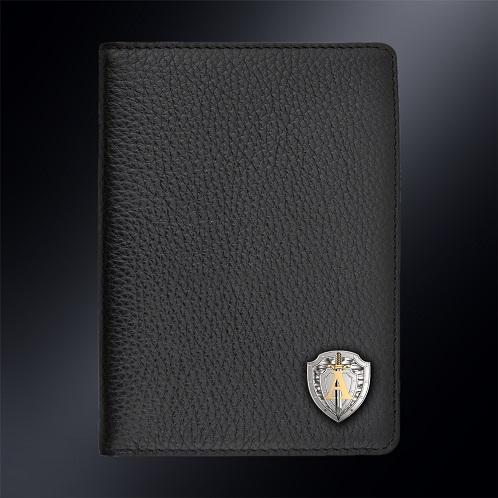 Кожаная обложка для автодокументов ЦСН АЛЬФА (эмблема серебро 925 пробы)