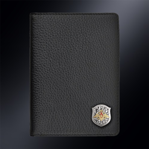 Кожаная обложка для автодокументов Министерство Обороны РОССИИ (эмблема серебро 925 пробы)