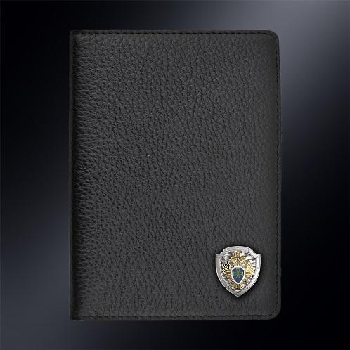 Кожаная обложка для автодокументов Пограничная Служба РОССИИ (эмблема серебро 925 пробы)
