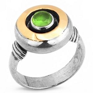 Серебряное кольцо Yaffo с золотом и зеленым кварцем SAR154