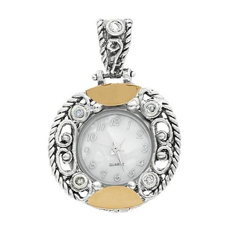 Серебряные часы-кулон  Yaffo с золотом и фианитом SAW762
