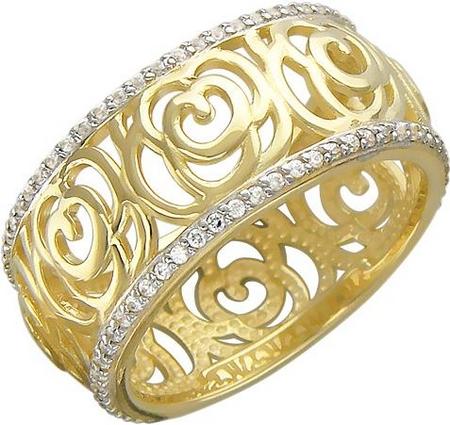Широкое кольцо из золота с фианитами и цветочным узором 01К136706