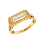 Печатка из комбинированного золота с фианитами 011313