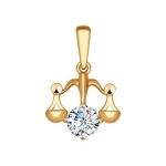 Подвеска «Знак зодиака Весы» из красного золота 034958