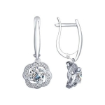 Серьги из серебра с фианитами и Swarovski Zirconia 89020047
