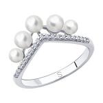 Кольцо из серебра с жемчугом и фианитами 94013114