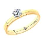 Помолвочное кольцо из комбинированного золота с бриллиантами 1014062-01
