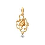 Золотой кулон «Знак зодиака Водолей» 034816