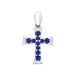 Крест из белого золота украшенный бриллиантами и сапфирами 2120027
