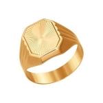 Печатка из золота с алмазной гранью 012305
