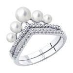 Кольцо из серебра с жемчугом и фианитами 94013100