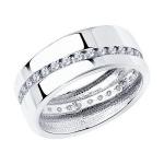 Обручальное кольцо из серебра с фианитами 94110027