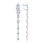 Серьги длинные из серебра с фианитами 94022375