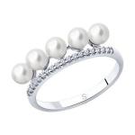 Кольцо из серебра с жемчугом и фианитами 94013098