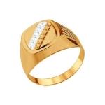 Печатка из золота с алмазной гранью 012781