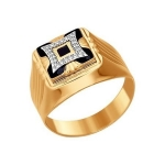 Золотая печатка с фианитами и ониксом 014846