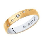 Кольцо из комбинированного золота с бриллиантами 1114031-02