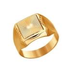 Печатка из золота с алмазной гранью 014024
