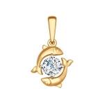 Подвеска «Знак зодиака Рыбы» из красного золота 034971