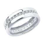 Обручальное кольцо из серебра с фианитами 94110026