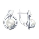 Серьги из серебра с эмалью с жемчугом 94022593