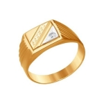 Печатка из комбинированного золота с алмазной гранью с фианитом 011577