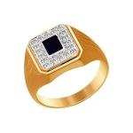 Печатка из золота с ониксом и фианитами 016006