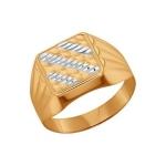 Печатка из золота с алмазной гранью 011339