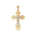 Крест из комбинированного золота с гравировкой 121056