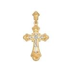 Крест из комбинированного золота с гравировкой 121092